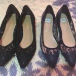 ロマンスタイプの靴、レースのポインテッドパンプス