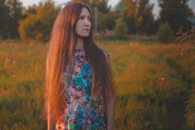 花柄のはっきりしたドレス